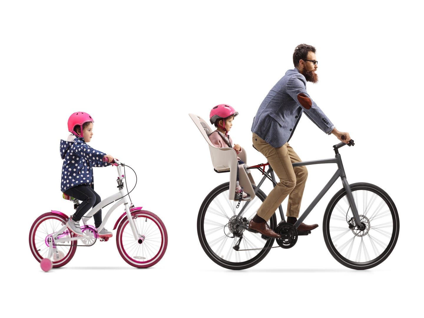 father riding bike with 6yr old daughter
