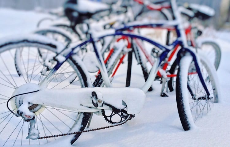 parked bicycles on snow