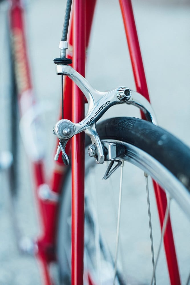 close up of red bicycle frame