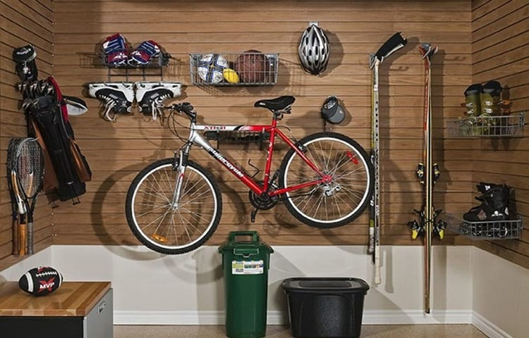 sports equipment in garage