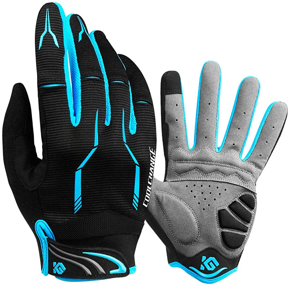 cool change full finger bike gloves black color