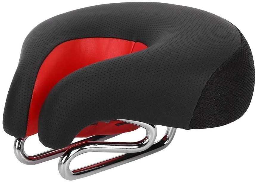 maxmart noseless bicycle saddle black and red color