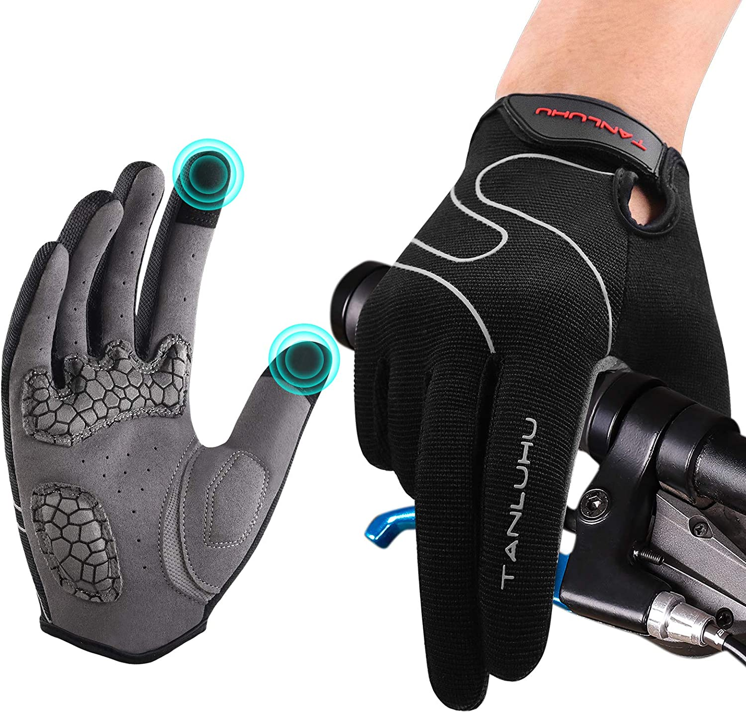 tanluhu winter cycling gloves isolated on white background