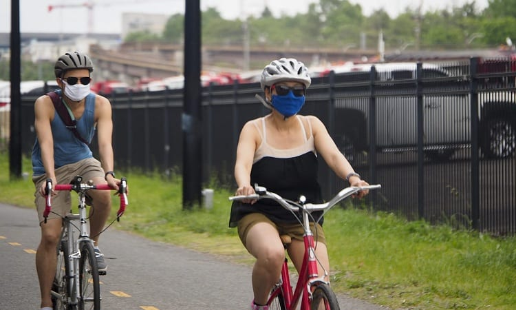 WEAR A BICYCLE FACE MASK WHILE CYCLING IN BUSY AREAS