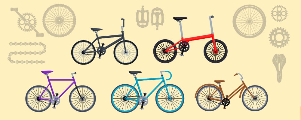 different bike types from mountain bike to road bikes