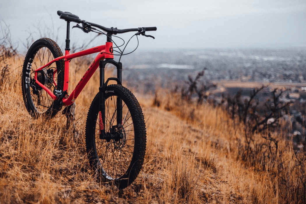 Red bike in mountains