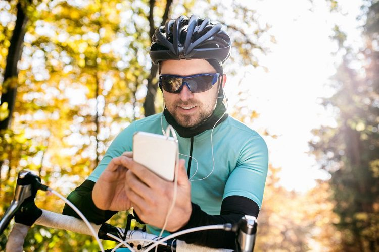 cyclist with phone