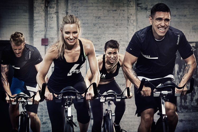 interval training at a spin bike class